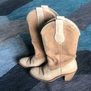 Leather Dingo cowboy boots, cream & tan, size 6.5